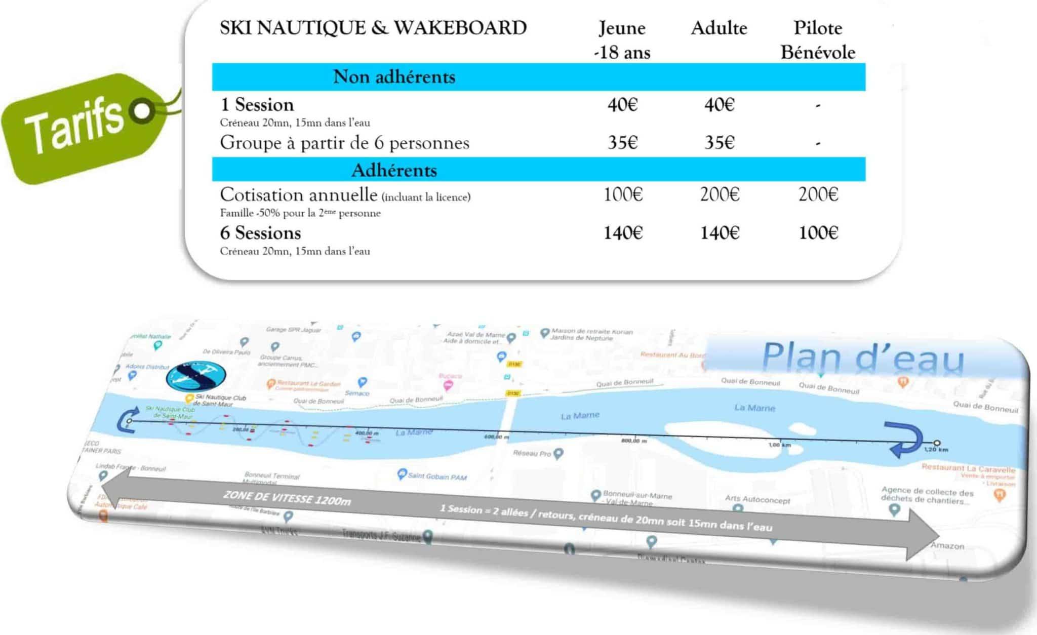 Nos tarifs et formules de ski nautique